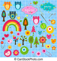 baby elements - colorful and textured large group of...