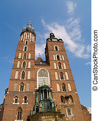 Saint Marys church in Krakow, Poland - Facade of Saint Marys...
