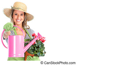 Gardening woman - Gardening woman with a watering can...