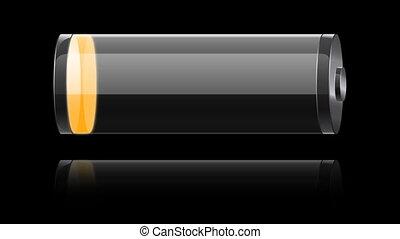glass orange battery charging
