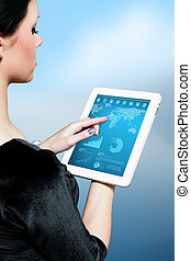 Cute brunette using touchpad 3
