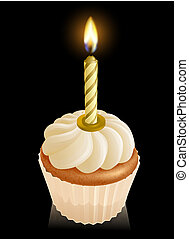 Fairy cake cupcake with birthday candle - Fairy cake cupcake...