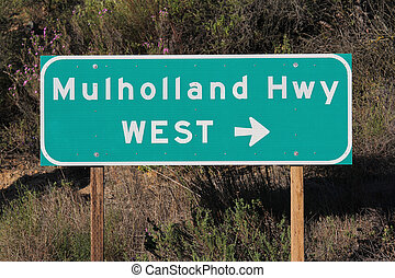 Mulholland Hwy Sign near Los Angeles - Mulholland Highway...