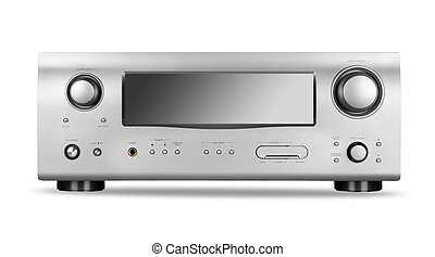 AV receiver - Hi-Tech AV receiver isolated on white...