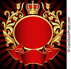 noble background with golden pattern and crown -...