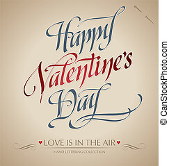 valentine's hand lettering (vector) - 'happy valentine's...