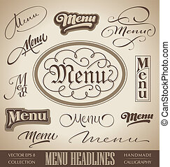 menu hand lettering set (vector)