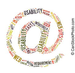 Web Usability word cloud isolated - Word Cloud Illustration...
