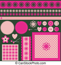 handiwork scrap booking set vector illustration