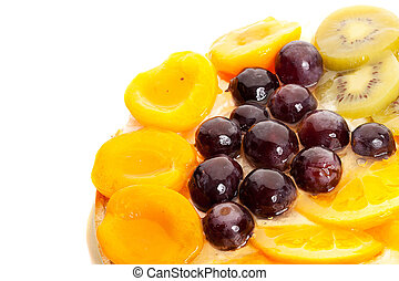 good looking fruits on top of a yummy cake