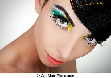Woman face with beautiful makeup
