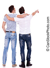 two young men pointing at somethin - Back view of two young...