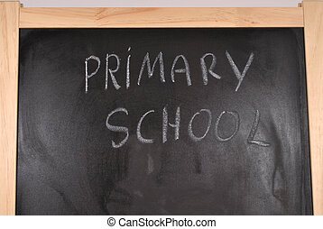 Primary school written on the blackboard