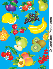 Fruits - Juicy fruits Vector art-illustration on a blue...