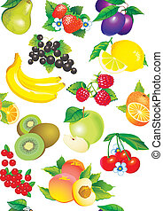 Pattern of fruits - Seamless pattern of juicy fruits Vector...