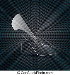 glass shoe on a metal background