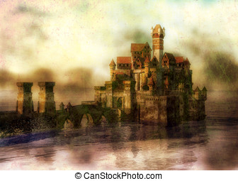 Castle in Lake - A Stone bridge leads to the castle city in...