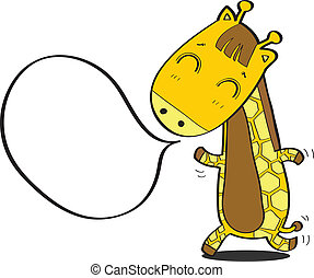 cartoon giraffe with speech bubble