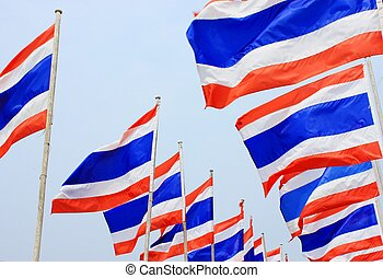 Flag of Thailand - Thai national flag has three colors: red,...