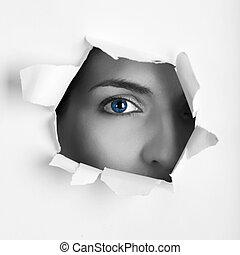 Blue eye - Beautiful female blue eye looking through a hole...
