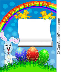 easter background with egg and amusing rabbit and rainbow -...