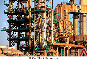 Oil refinery - Pipes, tubes and other equipment of an oil...