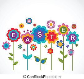 Easter greeting card with flowers