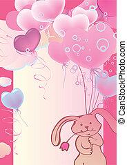 Rabbit on balloons. - Funny cute rabbit flying on balloons....