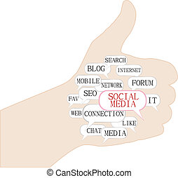 thumbs up symbol with text keywords on social media themes