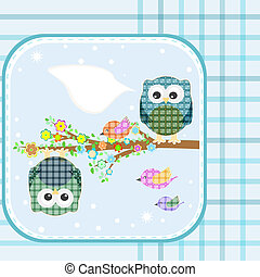 Two owls and birds on the tree. Vector