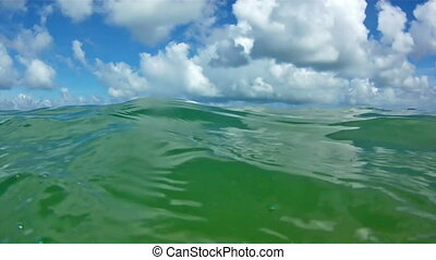 Waves in open sea and blue sky