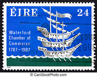 Postage stamp Ireland 1987 Three Ships, Chamber Crest -...