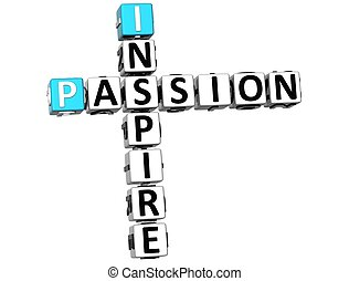 3D Inspire Passion Crossword text on white backgound