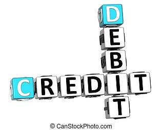 3D Credit Debit Crossword text