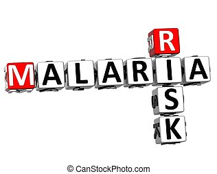 3D Malaria Risk Crossword text on white background
