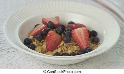 Breakfast Cereal - Preparing a bowl of breakfast cereal