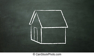 home - house drawing on the blackboard