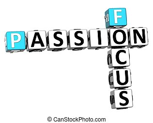 3D Focus Passion Crossword text on white backgound