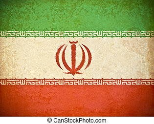 old grunge paper with Iran flag background