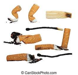 Set Cigarette butts, burned match, isolated on white...