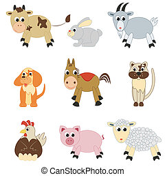 Set of farm animals on white background
