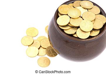 Ceramic pot with metal money - Ceramic pot with metallic...