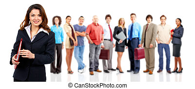 Woman and group of business people. Isolated over white...