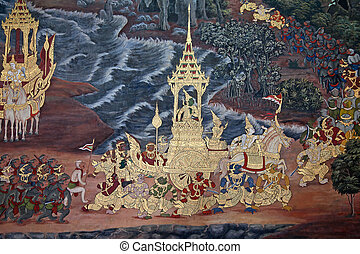 Thai Mural painting - Mural painting on the walls of Emerald...