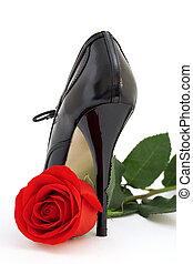 Red rose and a black shoe on a white background