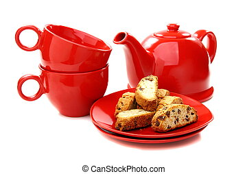 Crackers with chocolate and red tea set - Crackers with...