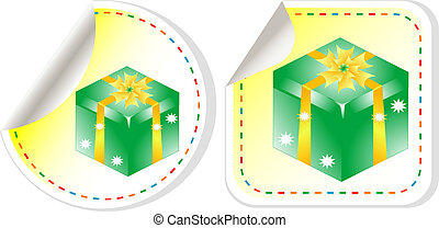 green holiday box with bow. vector sticker label set