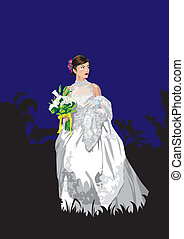 bride - Asian girl  bride  in the night landscape.