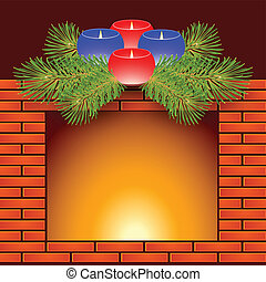 candlel 10 eps - Fireplace, Christmas candles and fir...