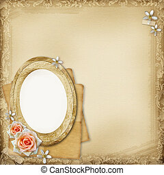 ancient photo album page background with oval frame and...